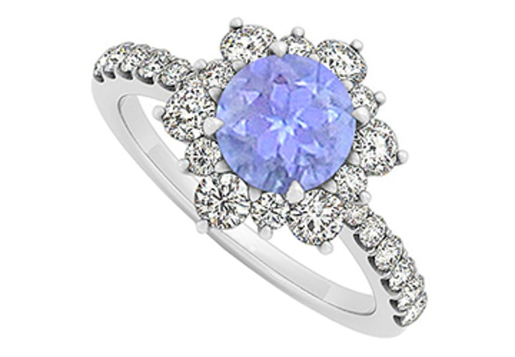 14K White Gold December Birthstone Tanzanite and Cubic Zirconia Floral Engagement Ring