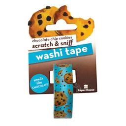 Paper House Productions Chocolate Chip Cookies Scented Scratch & Sniff Fun Print 15mm Washi Tape for Crafts and Scrapbooking