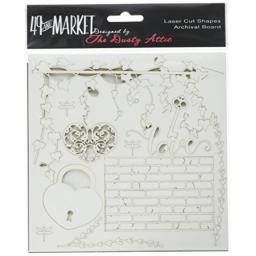 """49 and Market Love White Archival Chipboard 6""""x6"""""""