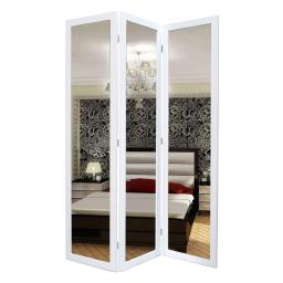 3 Panel Wooden Foldable Mirror Encasing Room Divider, White and Silver