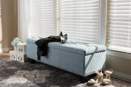 Baxton Studio Hannah Modern and Contemporary Light Blue Fabric Upholstered Button-Tufting Storage Ottoman Bench