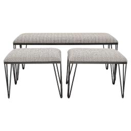 Metal Bench With Upholstered Seats, Set of 3, Gray