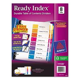 Avery 11133 Ready Index TOC Dividers, Tabs 1-8, Letter Size, Colors, 8 Tabs/ST