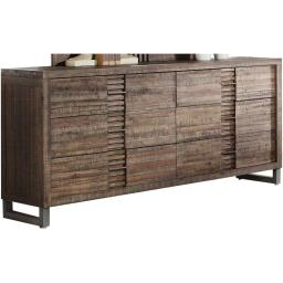 Plank Style Six Drawer Wooden Dresser with Metal Sled Legs, Brown