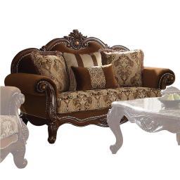 Fabric Upholstery Rolled Arm Loveseat With Four Pillows, Cherry Oak