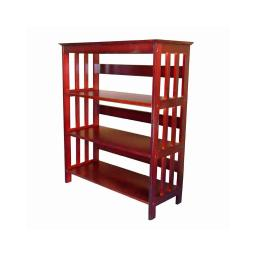 3 Tier Spacious Wooden Bookcase with Slatted Sides, Cherry Brown