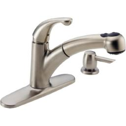 Delta 467-SSSD-DST Palo Single Handle Pull-Out Kitchen Faucet with Soap Dispenser, Stainless