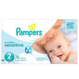 Diapers Size 2, 76 Count - Pampers Swaddlers Sensitive Disposable Baby Diapers, Super Pack