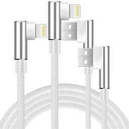 Boost 10FT 6FT Phone Charger Cable, 2-Pack 90 Degree Nylon Braided Data Cable Line USB Charger Cable Gaming Charging Cable Cord - White