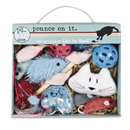 Cat Is Good 12-Piece Pounce Toy Gift Box - Pounce on It Assorted Toys Keep Cats and Kittens Entertained Safely