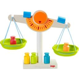HABA Play Store Scale - Wooden Balance with Real Weights for Pretend Kitchen & Measuring Fun