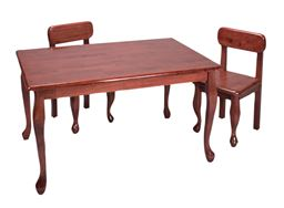 Gift Mark Natural Hardwood Queen Anne Rectangle Table and Chair Set - Cherry