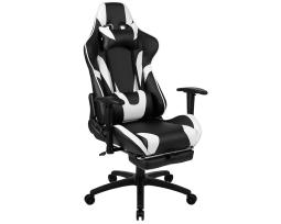 Offex X30 Gaming Chair Racing Office Ergonomic Computer Chair with Fully Reclining Back and Slide-Out Footrest in Black LeatherSoft