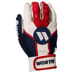 Worth Sports WBATGL-RWB-02 Batting Gloves, Red/White/Blue, Medium