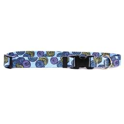 """Yellow Dog Design Spirals Blue Dog Collar with Tag-A-Long ID Tag System-Medium-3/4 Neck 14 to 20""""/4"""""""