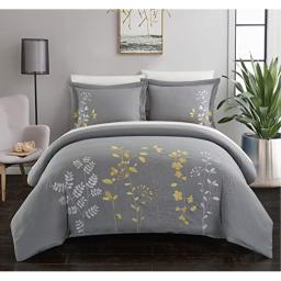 Chic Home Kaylee 3 Piece Duvet Cover Set Embroidered Floral Design Backing Zipper Closure Bedding - Decorative Pillow Shams Included Queen Yellow