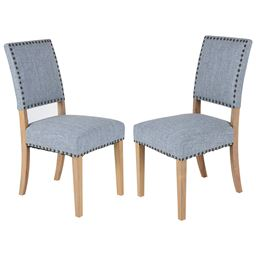 Set of 2 Fabric Dining Chairs with Rubber Wooden Legs