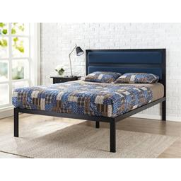 Zinus 16 Inch Platform Bed / Metal Bed Frame / Mattress Foundation with Tufted Navy Panel Headboard / No Box Spring Needed / Wood Slat Support Full