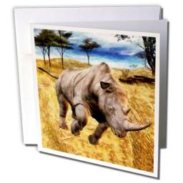 "3dRose Rhino on The Serengeti - Greeting Cards, 6 x 6"", Set of 6 (gc_160136_1)"