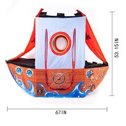 Kids Play Tent Play House Indoor Outdoor - Pirate Ship Style Foldable Play Tent Flexible Play Tent