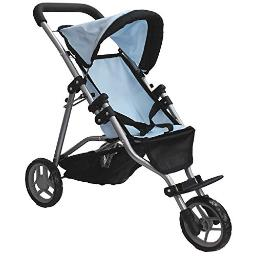 Mommy & Me My First Doll Jogger Foldable Doll Stroller with Basket for Toddler Girls, Fits 18 Inch Doll, 9326C Blue