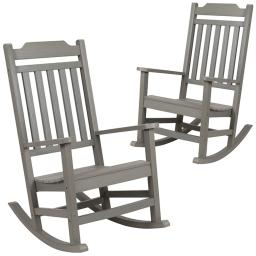Flash Furniture Set of 2 Winston Gray Faux Wood All-Weather Rocking Chair for Indoor and Outdoor