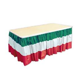 "Beistle 52170-RWG Red, White and Green Table Skirting, 29"" x 14'"