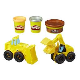 Play-Doh Wheels Excavator and Loader Toy Construction Trucks with Non-Toxic Sand Buildin' Compound Plus 2 Additional Colors