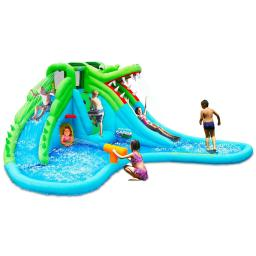 Crocodile Inflatable Water Slide Climbing Wall Bounce House