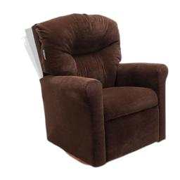 Dozydotes Contemporary Kids Rocker Recliner in Chocolate Microsuade
