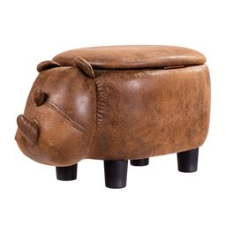Brown Rhinocer Upholstered Ride-on Storage Ottoman