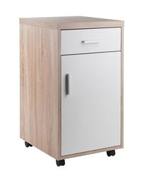 Winsome Kenner Mobile Storage Cabinet, 1 Drawer, Reclaimed Wood/White Finish