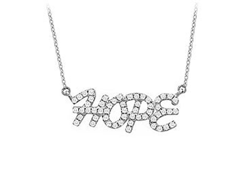 14K White Gold Diamond Hope Pendant Necklace 0.33 CT TDW