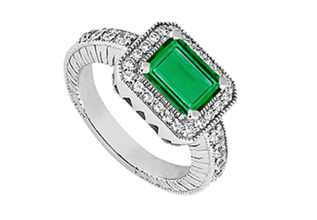 14K White Gold Emerald Cut Simulated Green Emerald and CZ Total Gem weight of 1.35 Carat