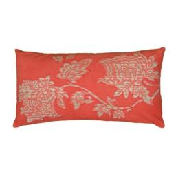 Rizzy Home T06533 Printed with Embroidery Details Decorative Pillow, 11 by 21-Inch, Coral