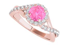 Pink Sapphire and CZ Halo Ring in Criss Cross Design