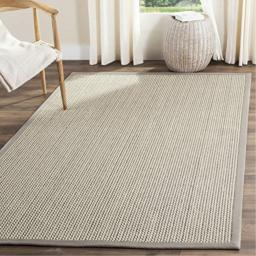 Safavieh Natural Fiber Collection NF475A Hand Woven Grey Wool & Sisal Area Rug (6' x 9')