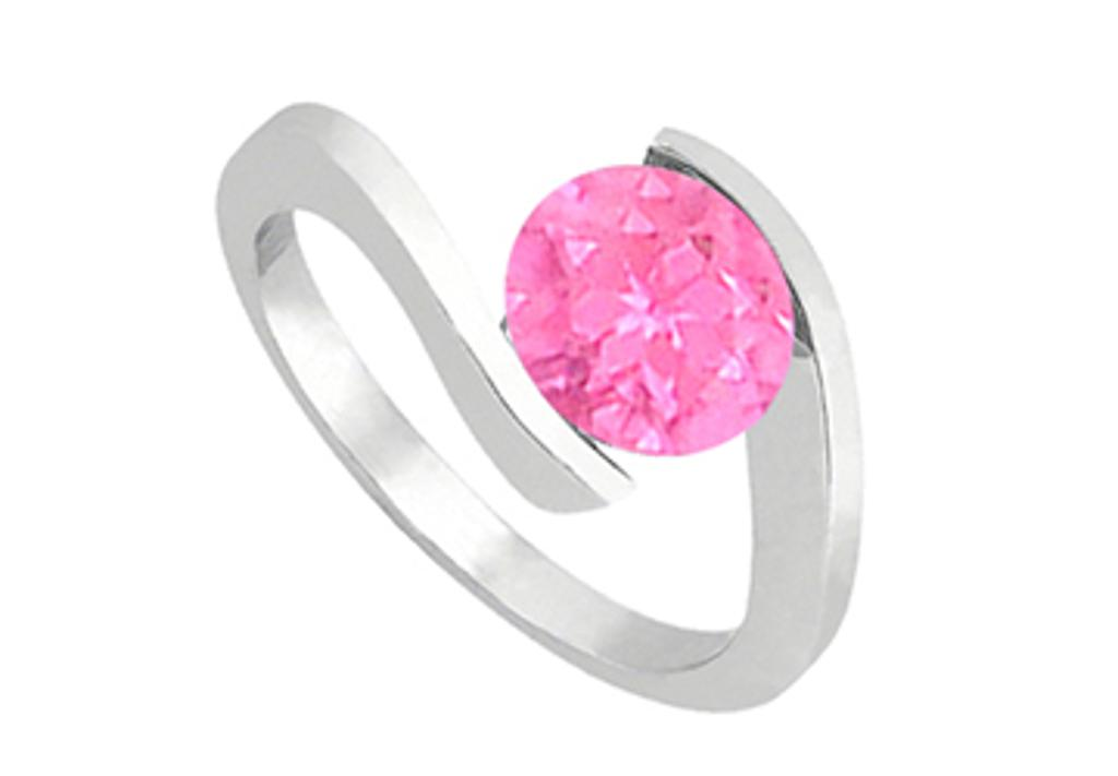 14K White Gold Fashion Created Pink Sapphire Solitaire Ring of One CT Total Gem Weight