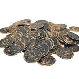 100Pcs Plastic Pirate Gold Coins - Fake Money Party Favors - Pirate Treasure Coins Toy Coins for Kids Party Supplies Props Decoration (Bronze)