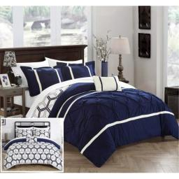 Chic Home 3 Piece Marcia Pinch Pleated Ruffled and Reversible Geometric Design Printed Twin Comforter Set Navy