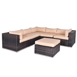 6 pcs Outdoor Rattan Wicker Furniture Set