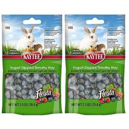 Kaytee Fiesta 2 Pack of Blueberry and Strawberry Flavor Yogurt Dipped Timothy Hay for Small Animals, 2.5-oz Per Bag
