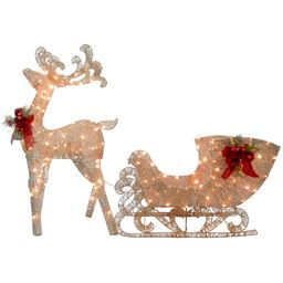 """48"""" Champagne Reindeer pulling 38"""" Sleigh with Red Bow each with 70 Warm White LED Lights"""