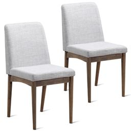 Set of 2 Dining Armless Fabric Upholstered Seat Chairs