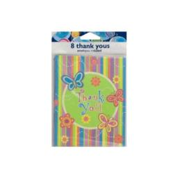 """""""Colorful Butterfly Stripe """"""""thank You"""""""" Notes, Set Of 8"""""""