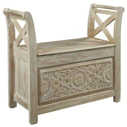 Wooden Bench with Hinged Storage, Brown