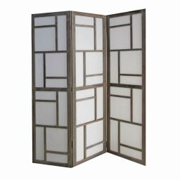 Contemporary 3 Panel Wooden Screen with Geometrical Designs, Gray