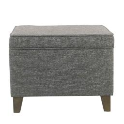 Rectangular Fabric Upholstered Wooden Ottoman with Lift Top Storage, Gray