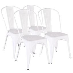 Set of 4  Industrial Style Metal Dining Chair for Indoor Outdoor Use
