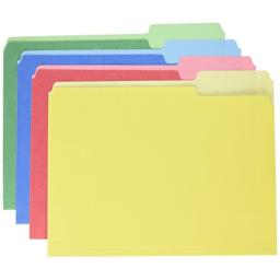 Pendaflex CutLess/WaterShed File Folders, Letter Size, Assorted Colors, 1/3 Cut, 100/BX (48434)